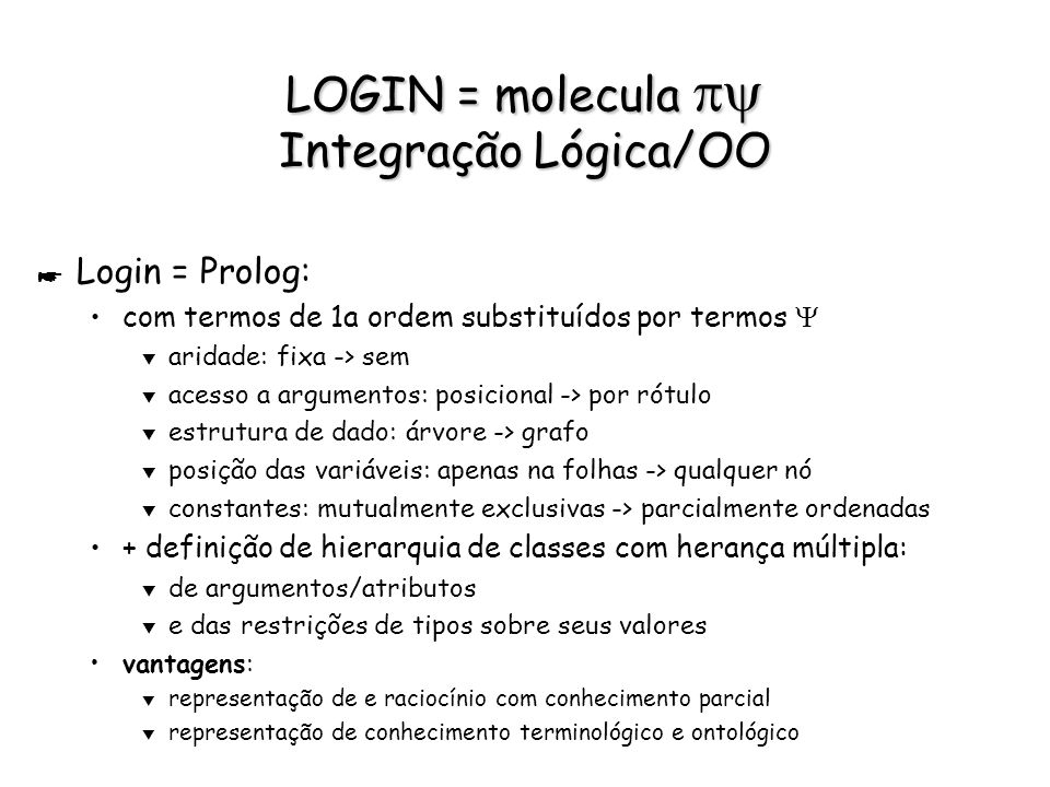 LOGIN = molecula py Integração Lógica/OO