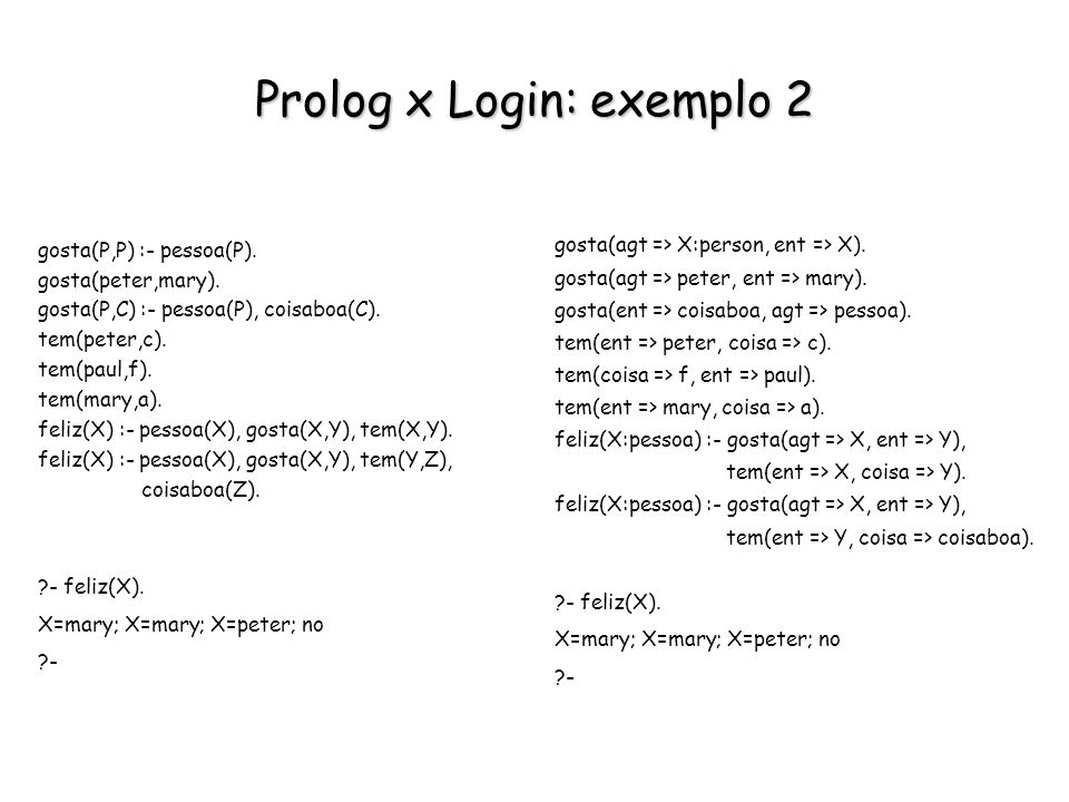 Prolog x Login: exemplo 2