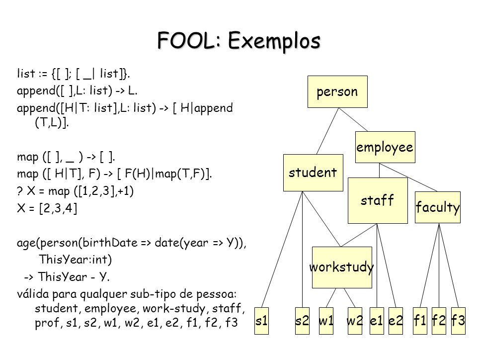 FOOL: Exemplos faculty s1 s2 w1 w2 e1 e2 f1 f2 f3 employee person