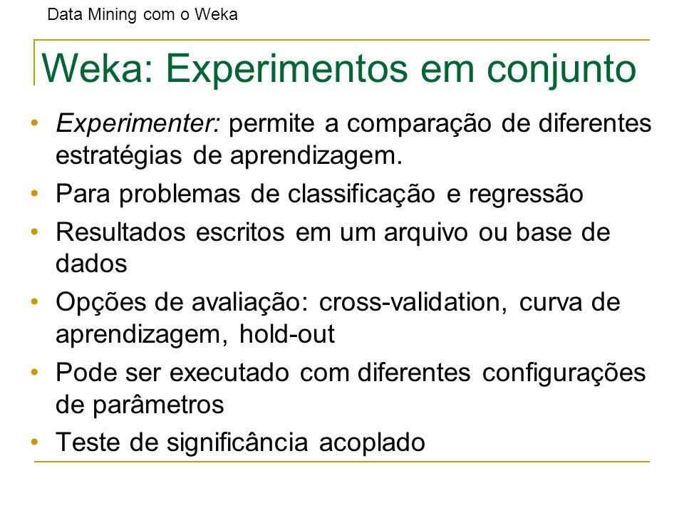 Weka: Experimentos em conjunto