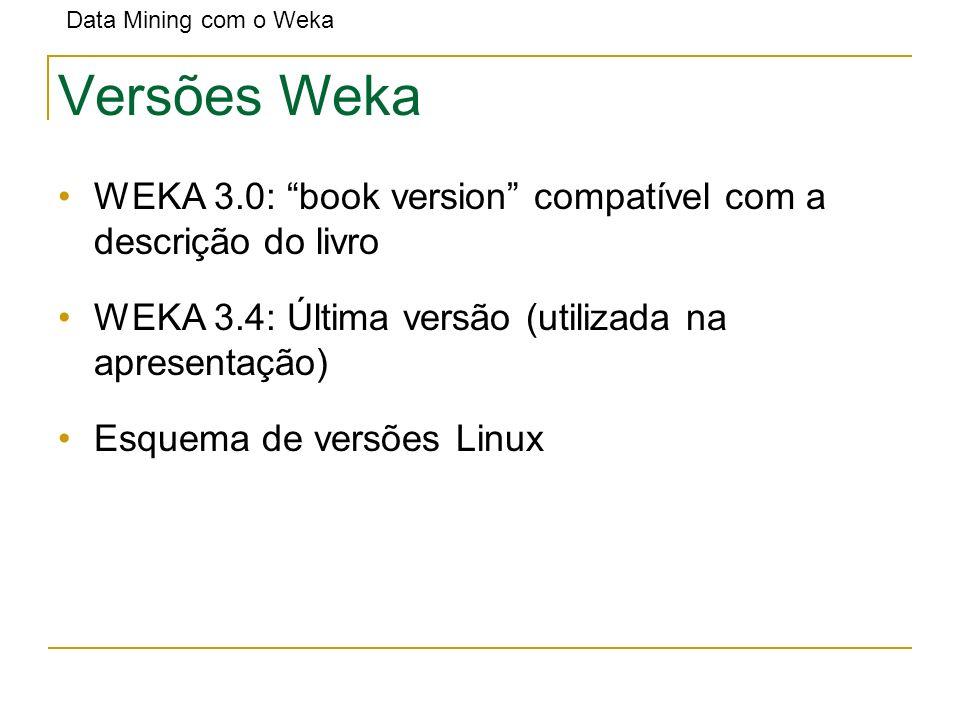 Versões Weka WEKA 3.0: book version compatível com a descrição do livro. WEKA 3.4: Última versão (utilizada na apresentação)