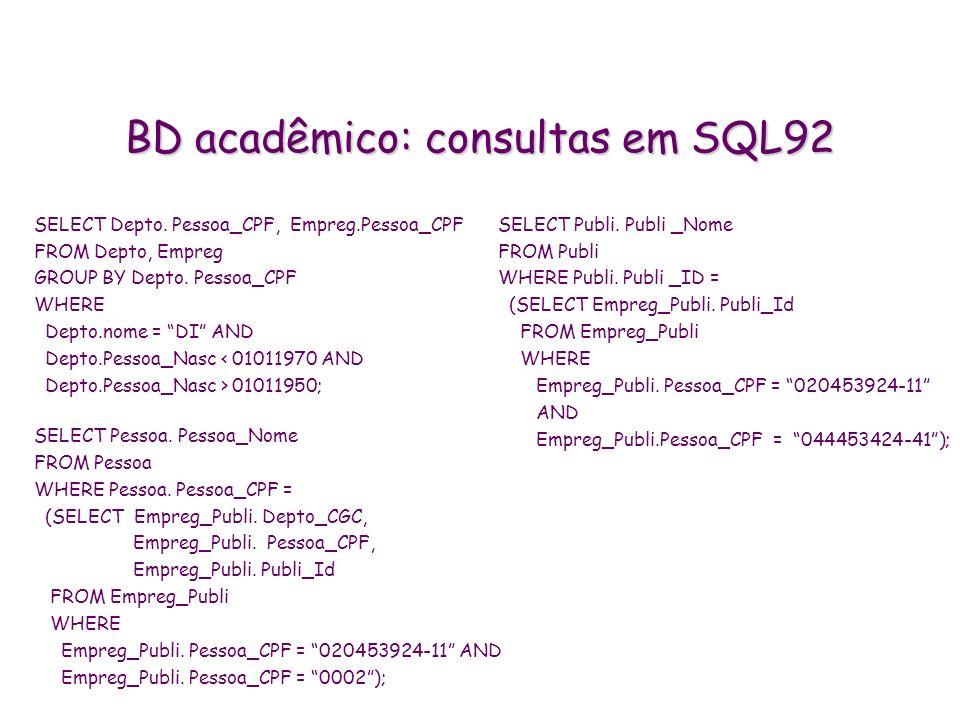 BD acadêmico: consultas em SQL92