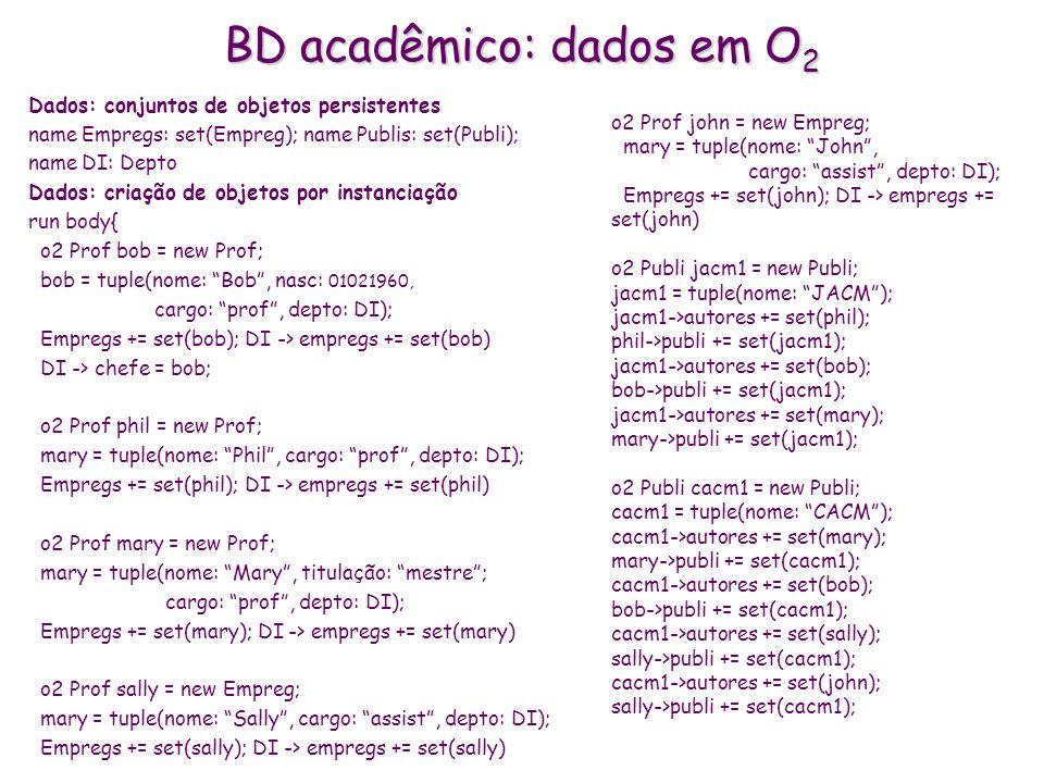 BD acadêmico: dados em O2