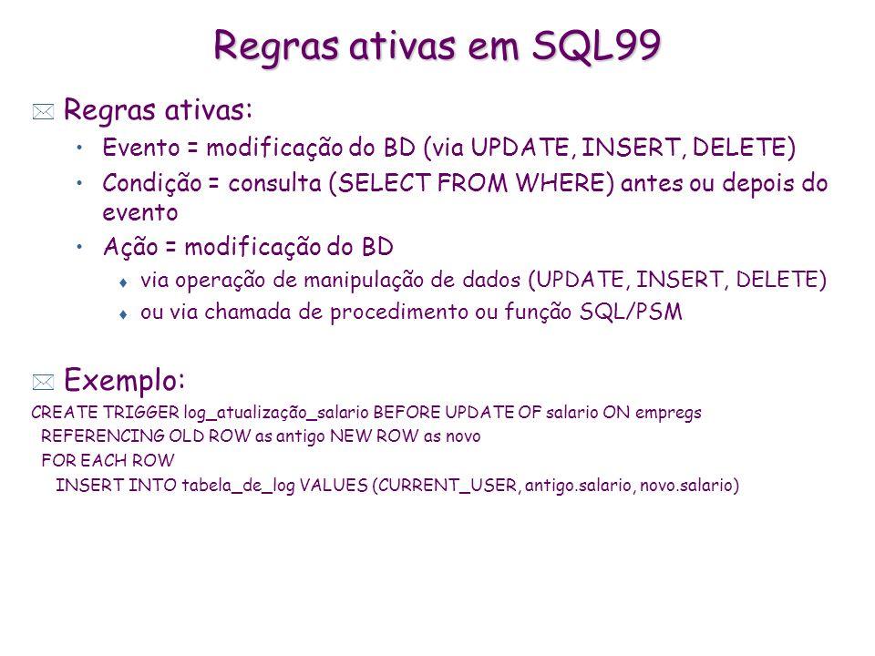 Regras ativas em SQL99 Regras ativas: Exemplo: