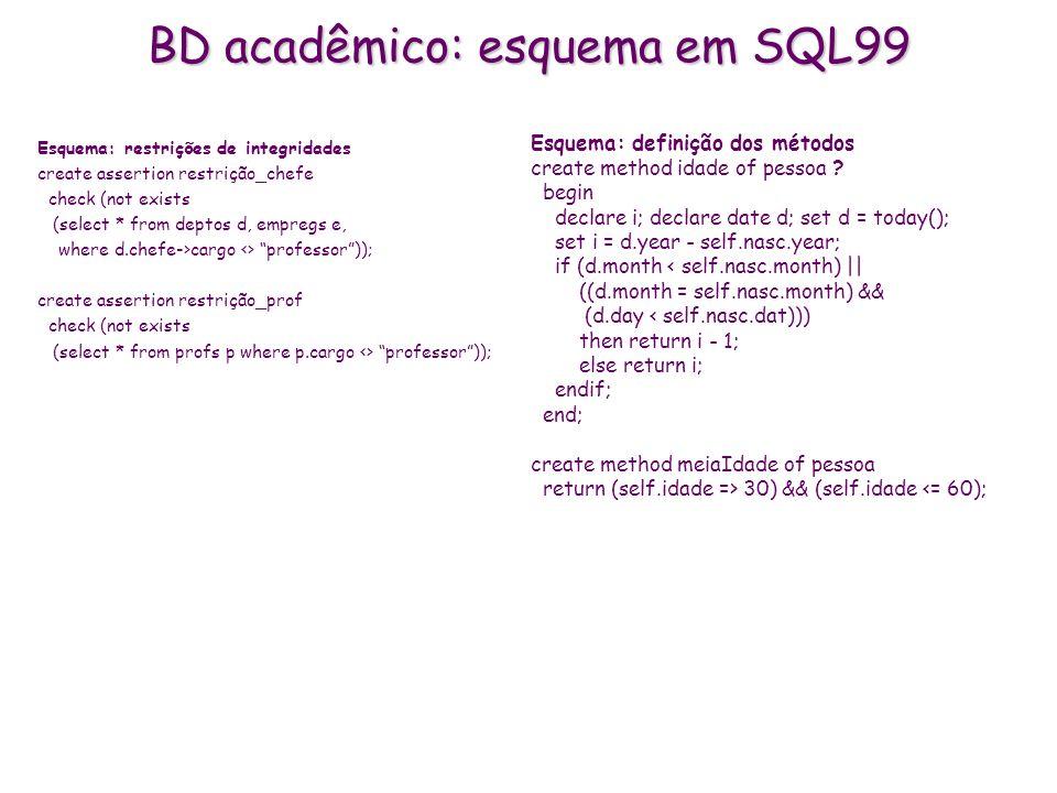 BD acadêmico: esquema em SQL99