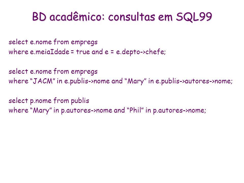 BD acadêmico: consultas em SQL99