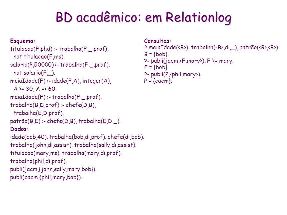BD acadêmico: em Relationlog