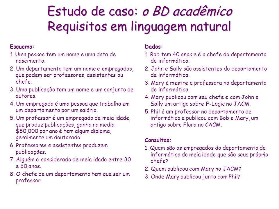 Estudo de caso: o BD acadêmico Requisitos em linguagem natural