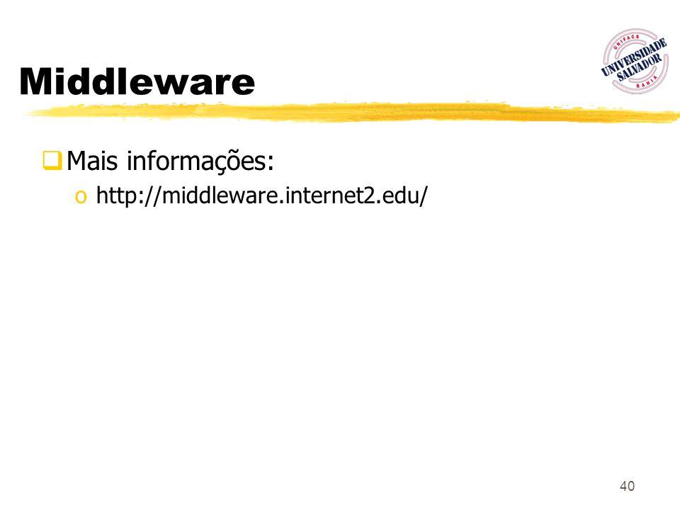 Middleware Mais informações: http://middleware.internet2.edu/