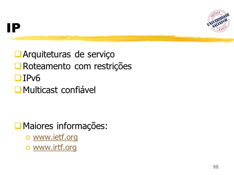 IP Arquiteturas de serviço Roteamento com restrições IPv6