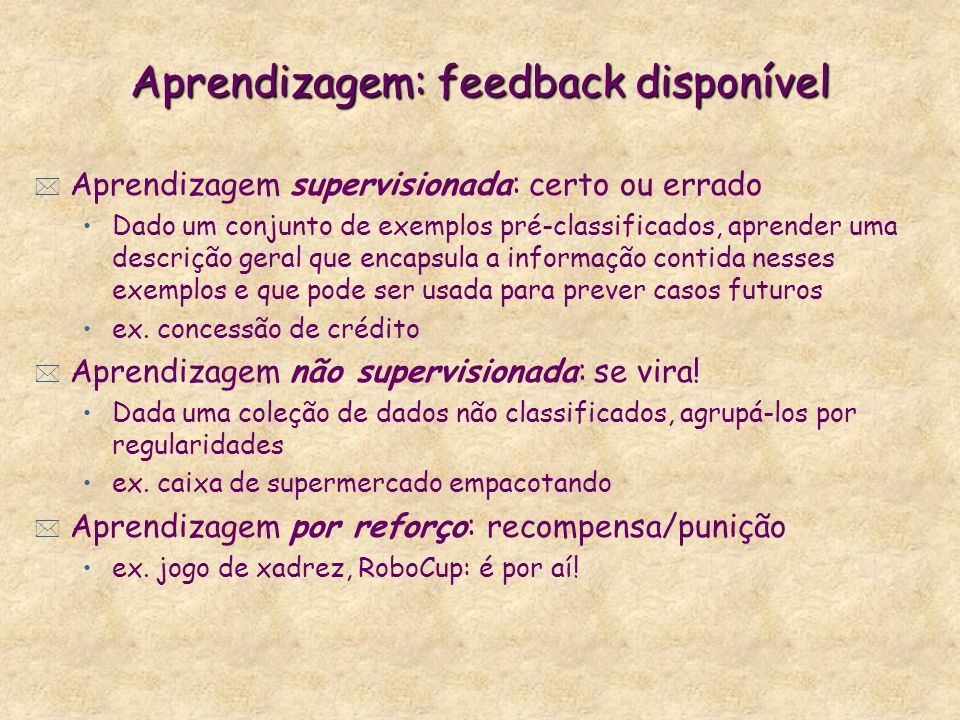 Aprendizagem: feedback disponível