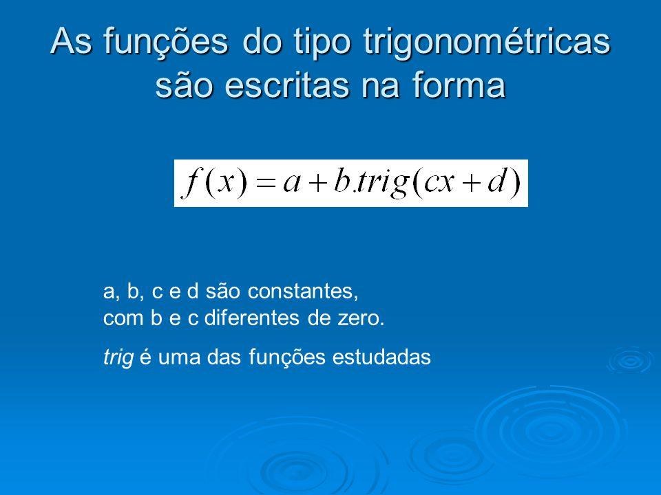 As funções do tipo trigonométricas são escritas na forma
