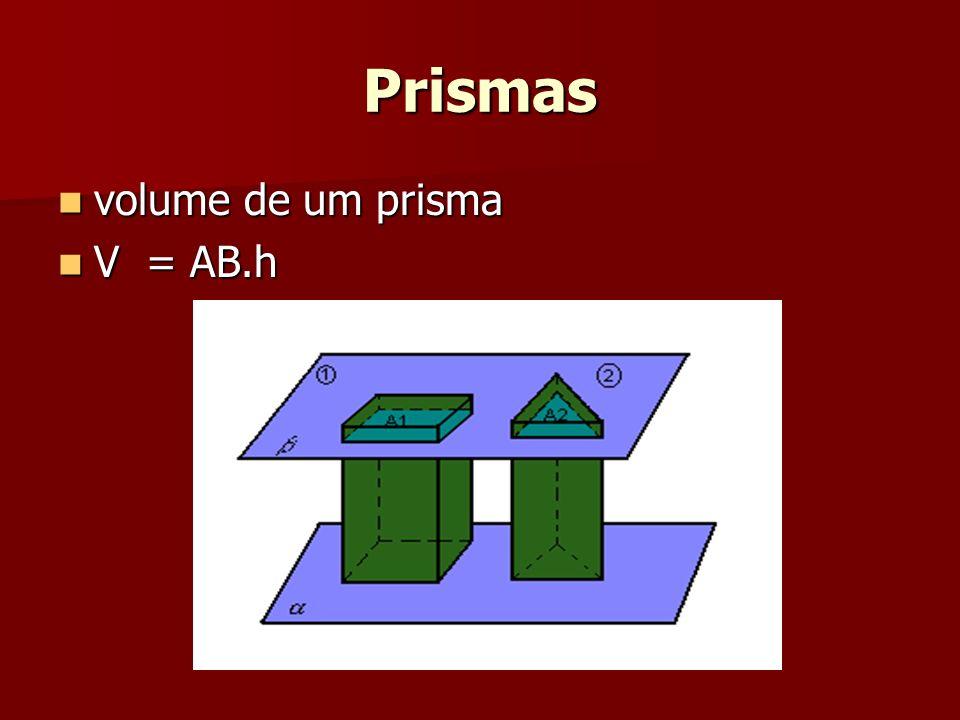 Prismas volume de um prisma V = AB.h
