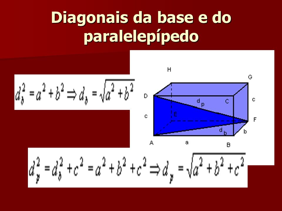 Diagonais da base e do paralelepípedo