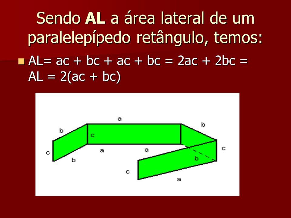 Sendo AL a área lateral de um paralelepípedo retângulo, temos: