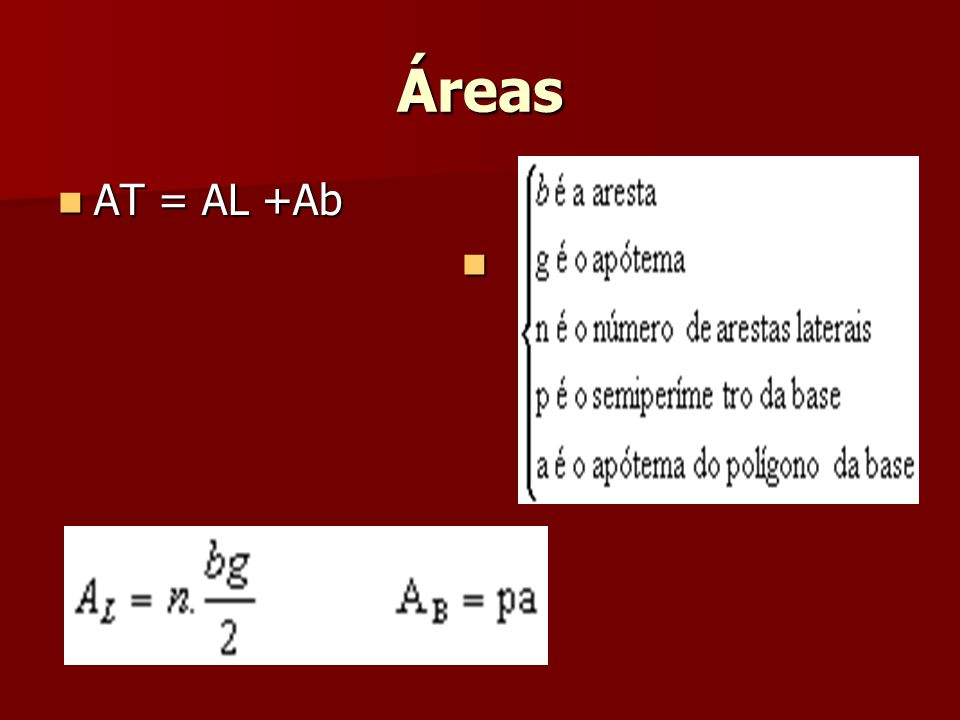 Áreas AT = AL +Ab