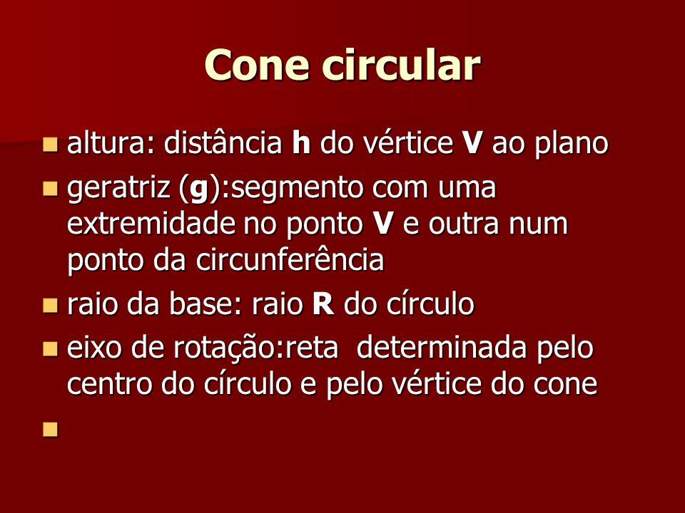 Cone circular altura: distância h do vértice V ao plano