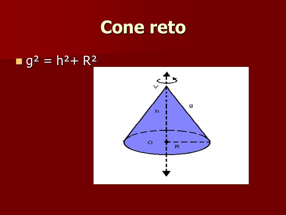 Cone reto g² = h²+ R²