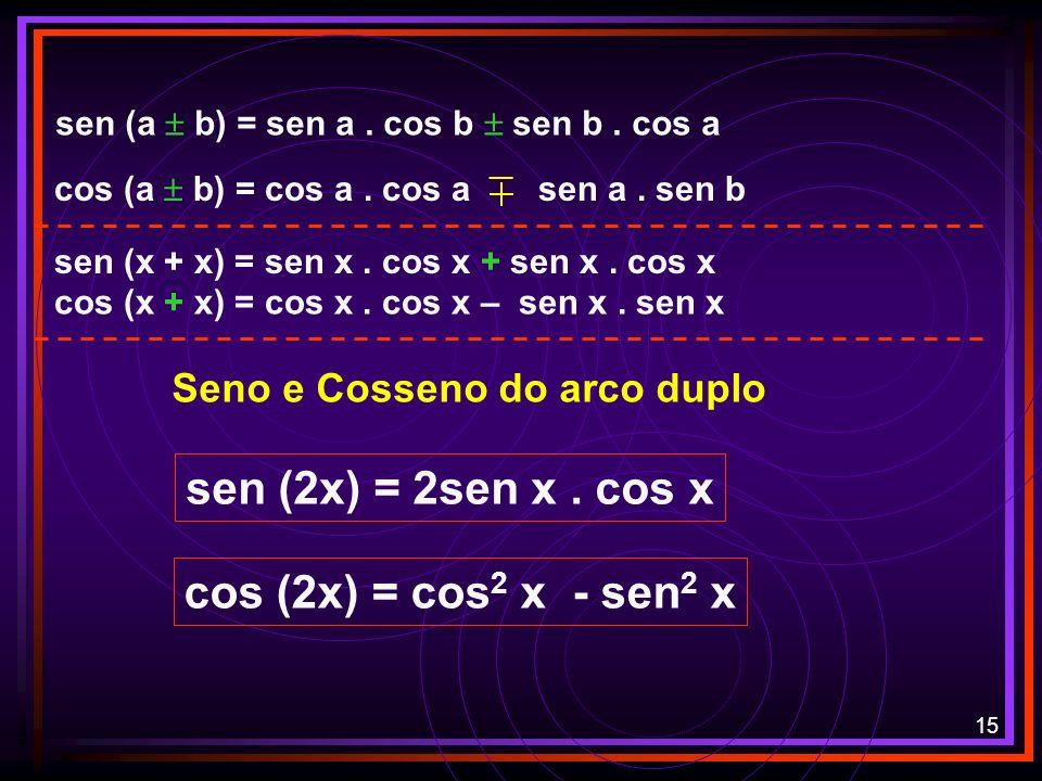 sen (2x) = 2sen x . cos x cos (2x) = cos2 x - sen2 x