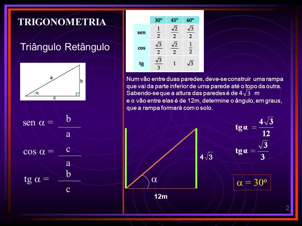 TRIGONOMETRIA Triângulo Retângulo b sen  = a c cos  = a b tg  = 
