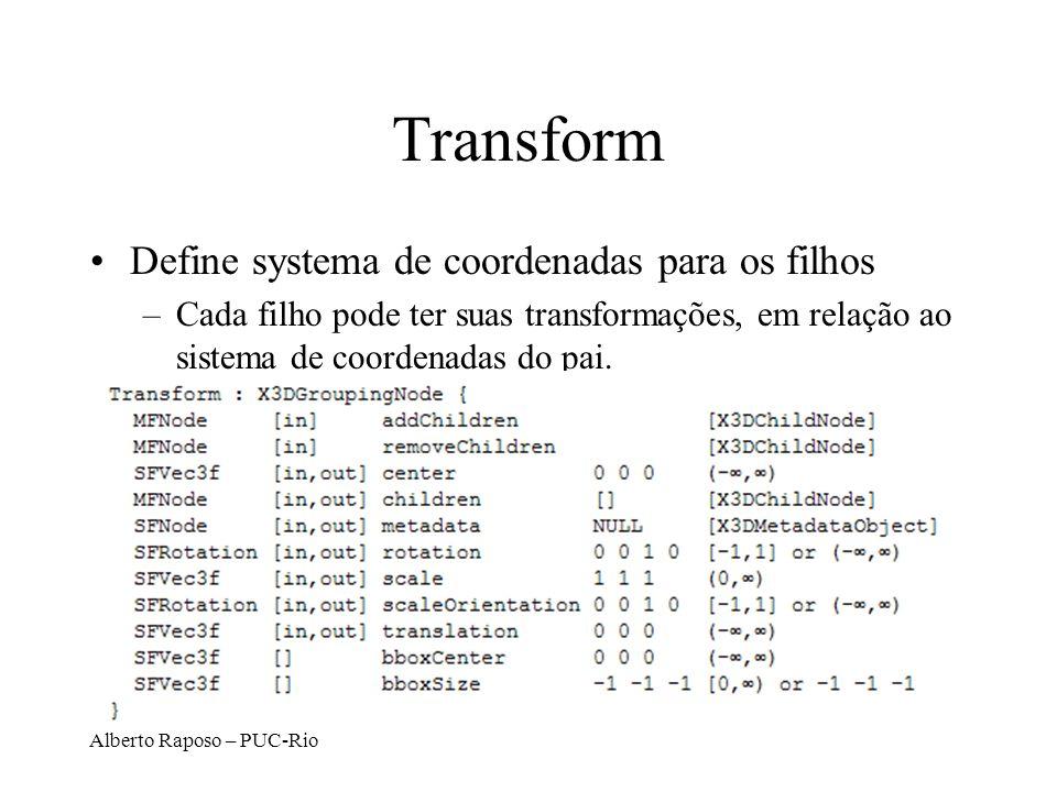Transform Define systema de coordenadas para os filhos