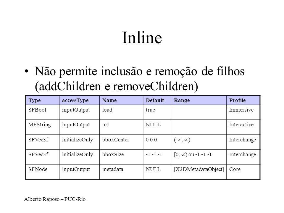 Inline Não permite inclusão e remoção de filhos (addChildren e removeChildren) Type. accessType. Name.