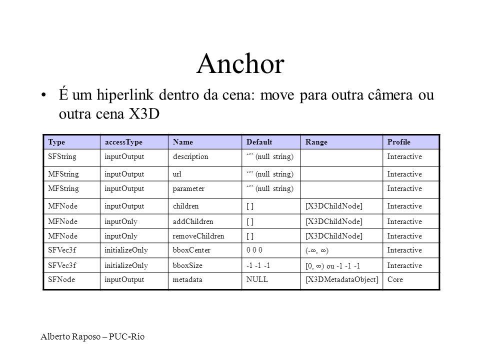 Anchor É um hiperlink dentro da cena: move para outra câmera ou outra cena X3D. Type. accessType.