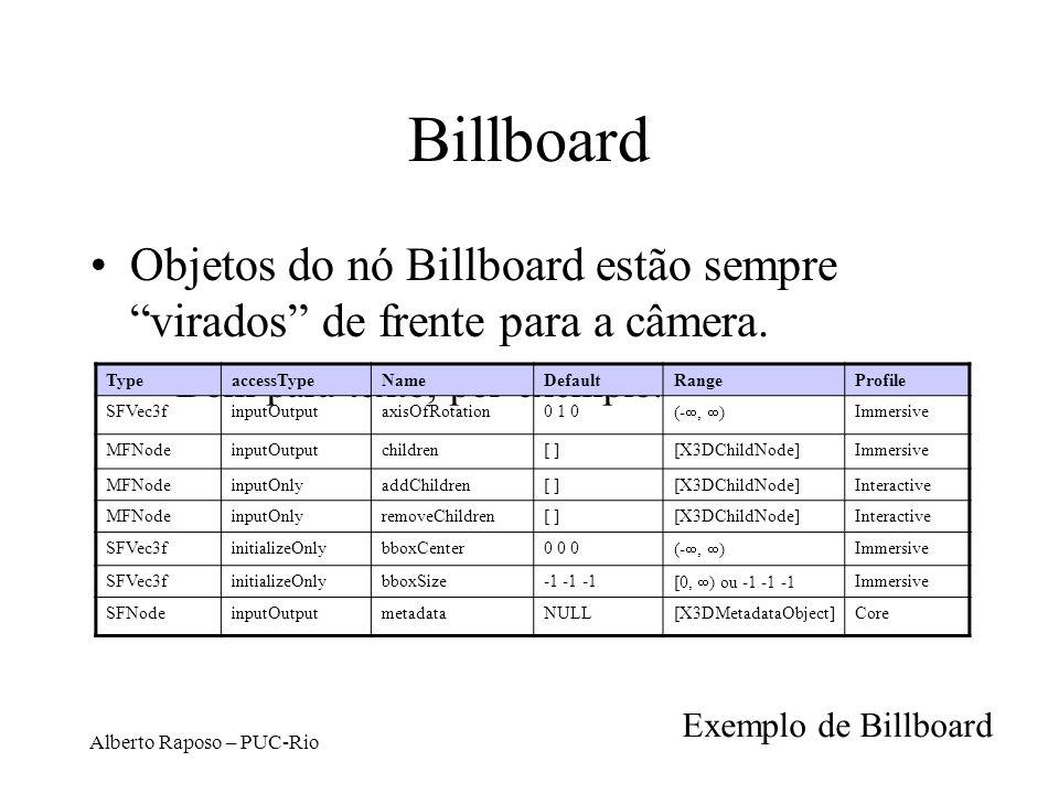 Billboard Objetos do nó Billboard estão sempre virados de frente para a câmera. Bom para texto, por exemplo.