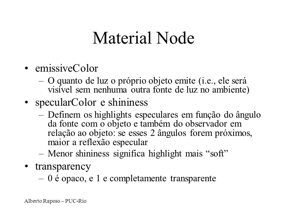 Material Node emissiveColor specularColor e shininess transparency