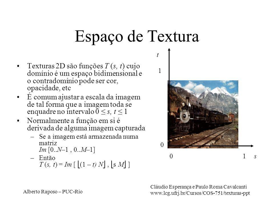 Espaço de Textura t. Texturas 2D são funções T (s, t) cujo domínio é um espaço bidimensional e o contradomínio pode ser cor, opacidade, etc.