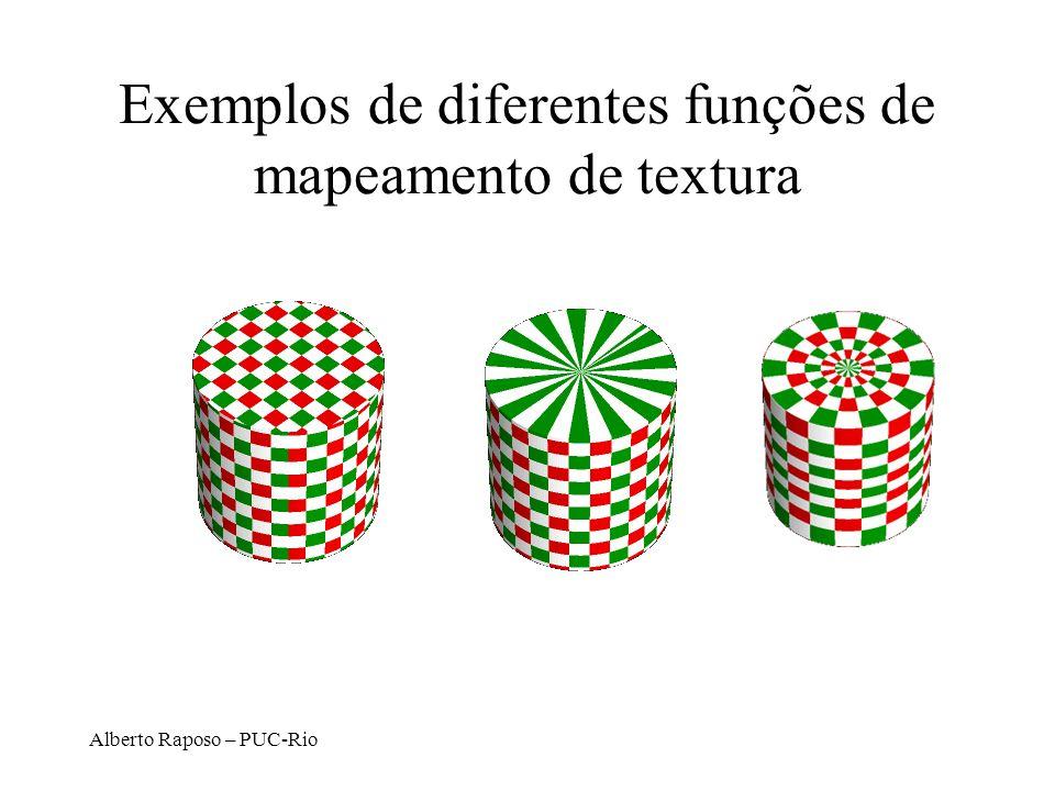 Exemplos de diferentes funções de mapeamento de textura