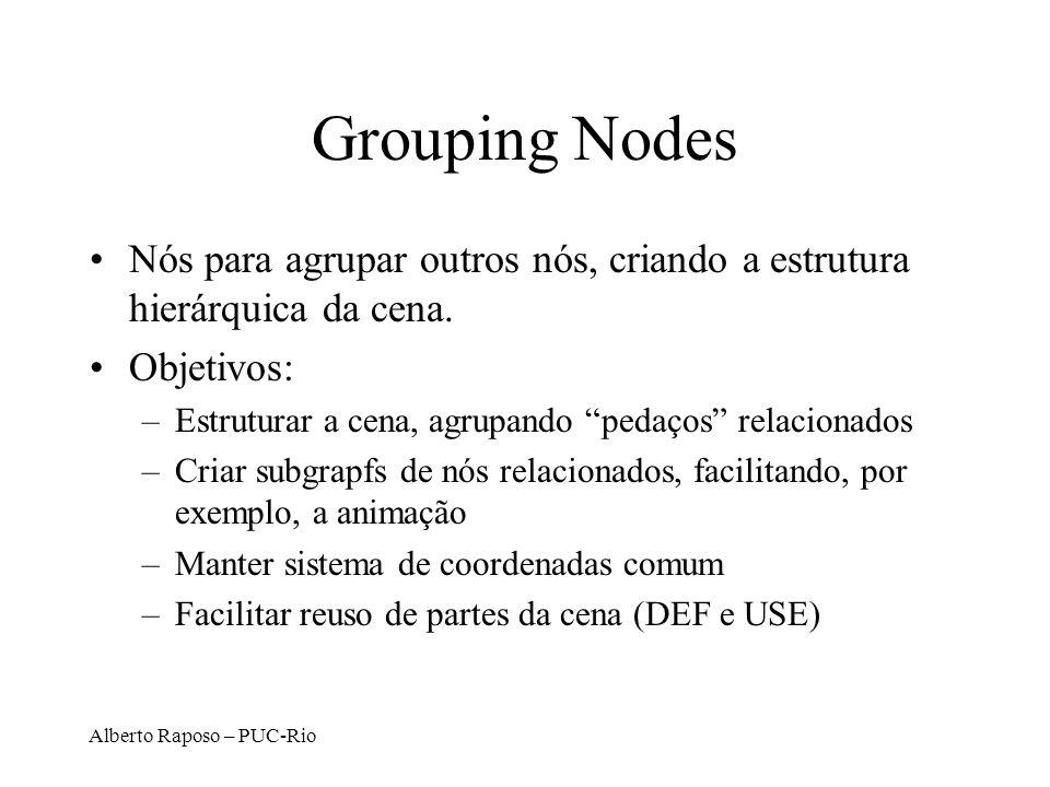 Grouping Nodes Nós para agrupar outros nós, criando a estrutura hierárquica da cena. Objetivos: Estruturar a cena, agrupando pedaços relacionados.
