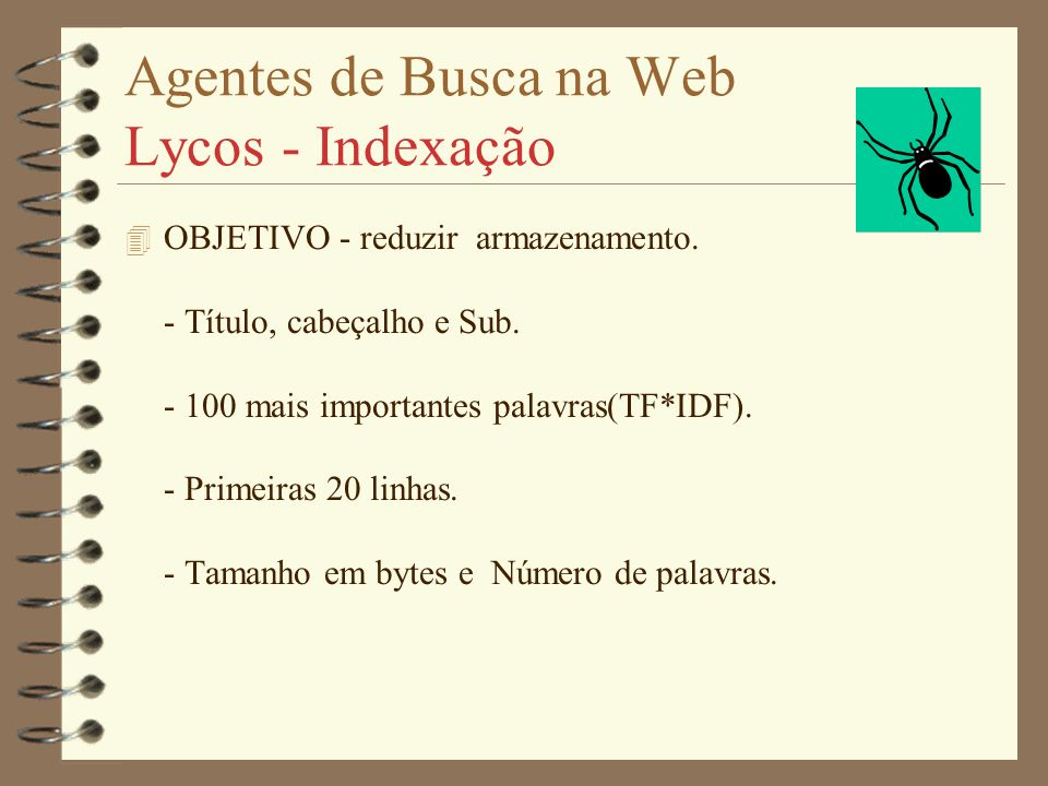 Agentes de Busca na Web Lycos - Indexação