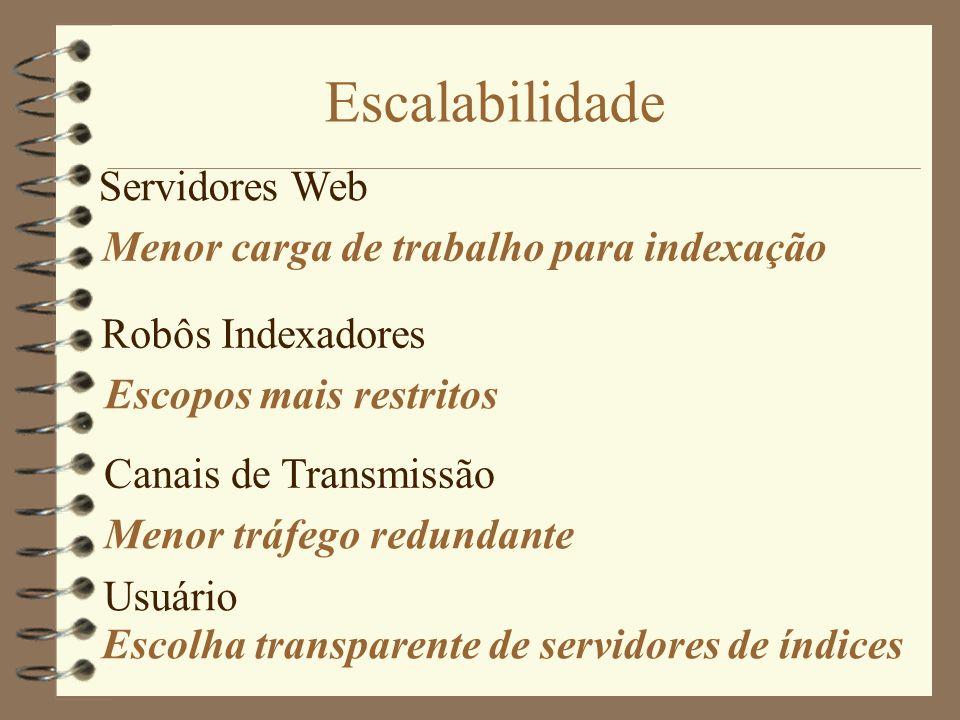 Escalabilidade Servidores Web Menor carga de trabalho para indexação
