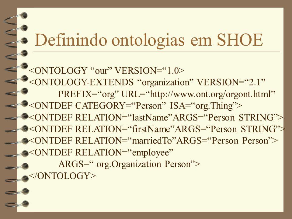 Definindo ontologias em SHOE