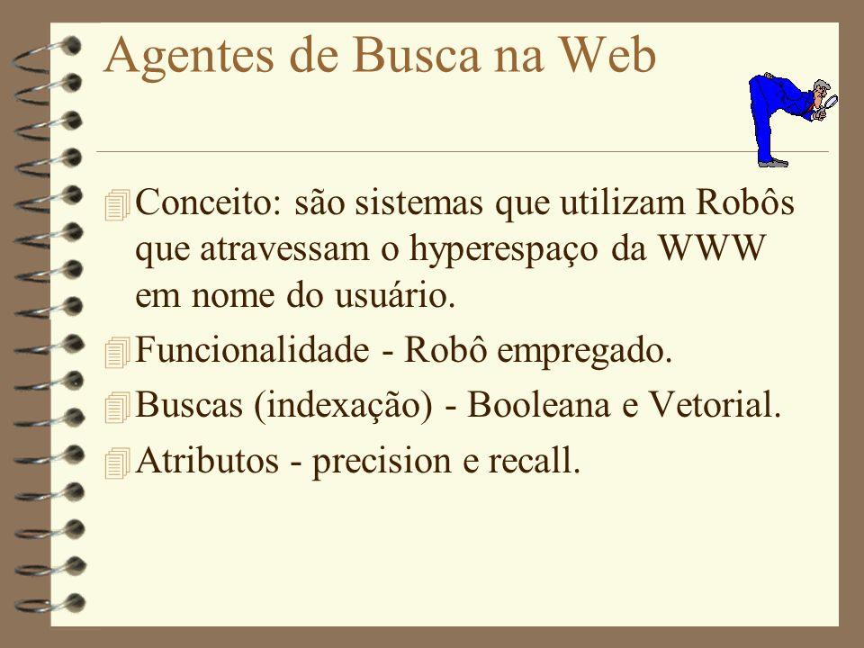 Agentes de Busca na Web Conceito: são sistemas que utilizam Robôs que atravessam o hyperespaço da WWW em nome do usuário.
