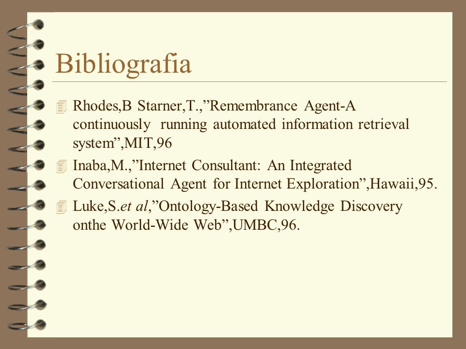 BibliografiaRhodes,B Starner,T., Remembrance Agent-A continuously running automated information retrieval system ,MIT,96.