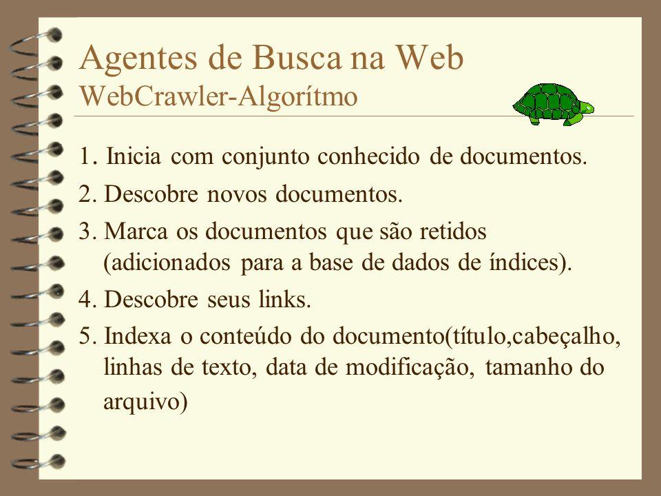 Agentes de Busca na Web WebCrawler-Algorítmo