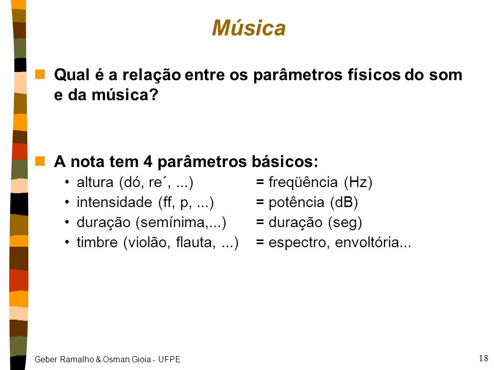 Música Qual é a relação entre os parâmetros físicos do som e da música A nota tem 4 parâmetros básicos: