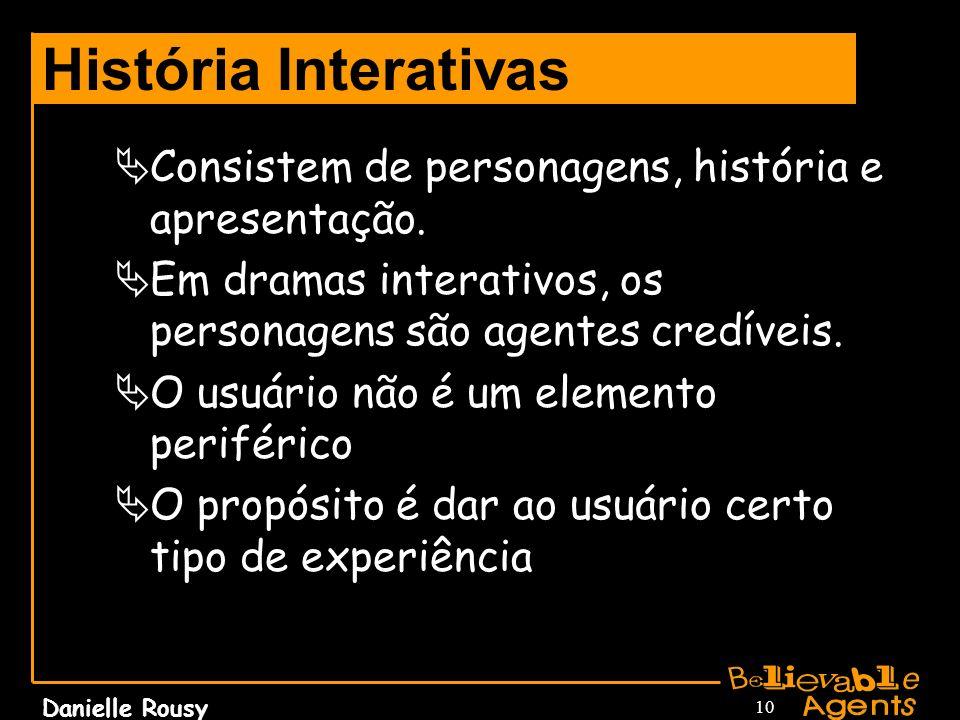 História Interativas Consistem de personagens, história e apresentação. Em dramas interativos, os personagens são agentes credíveis.