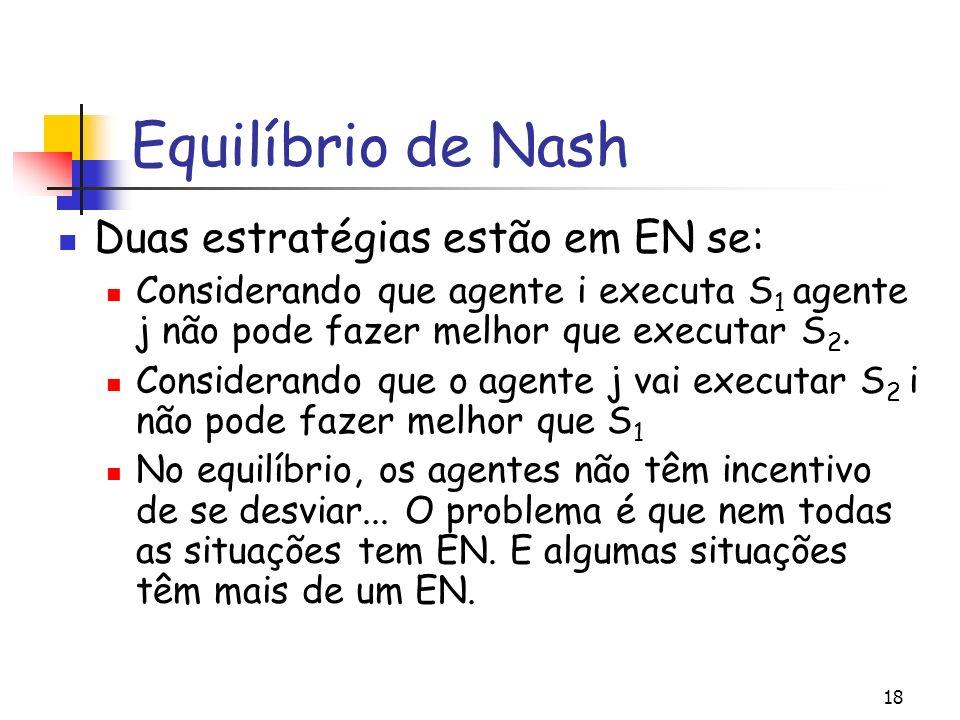 Equilíbrio de Nash Duas estratégias estão em EN se: