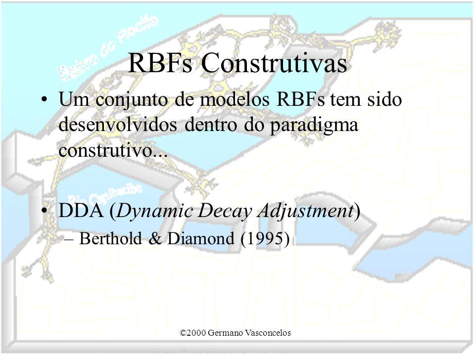 RBFs Construtivas Um conjunto de modelos RBFs tem sido desenvolvidos dentro do paradigma construtivo...