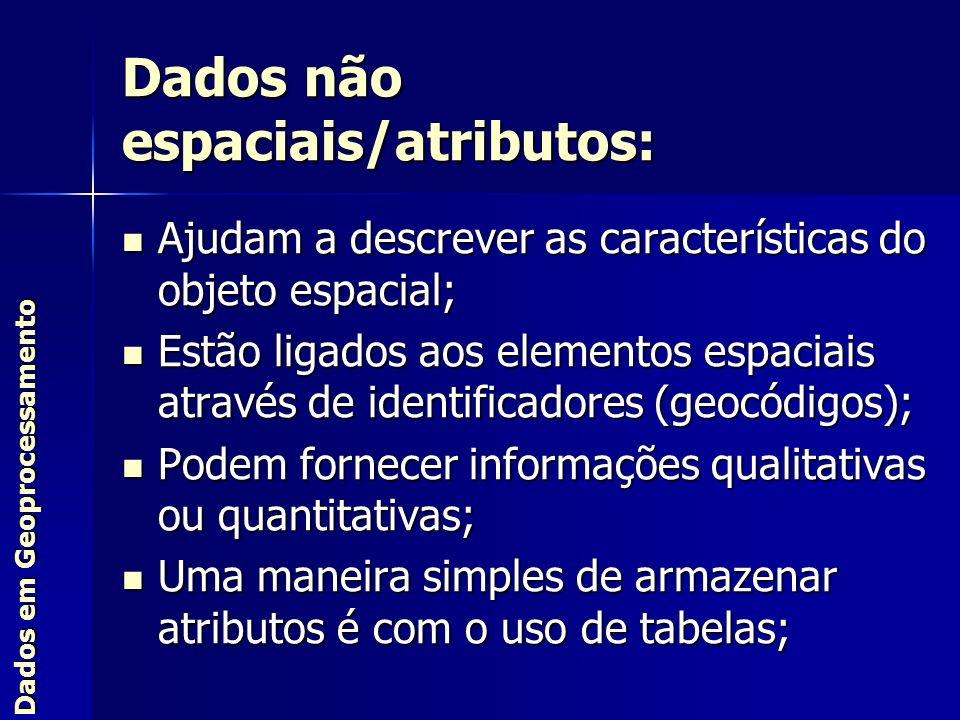 Dados não espaciais/atributos: