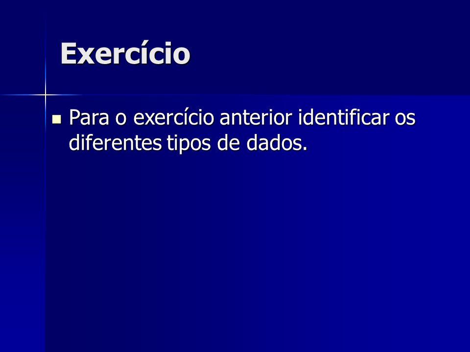Exercício Para o exercício anterior identificar os diferentes tipos de dados.
