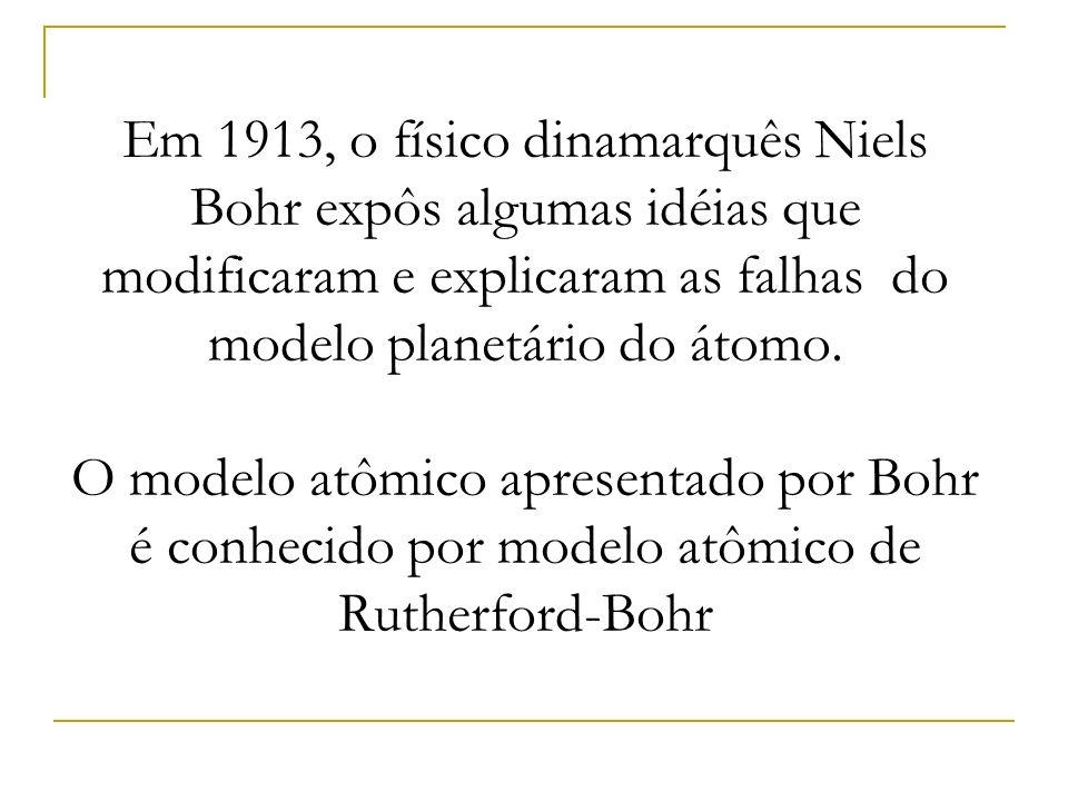 Em 1913, o físico dinamarquês Niels Bohr expôs algumas idéias que modificaram e explicaram as falhas do modelo planetário do átomo.
