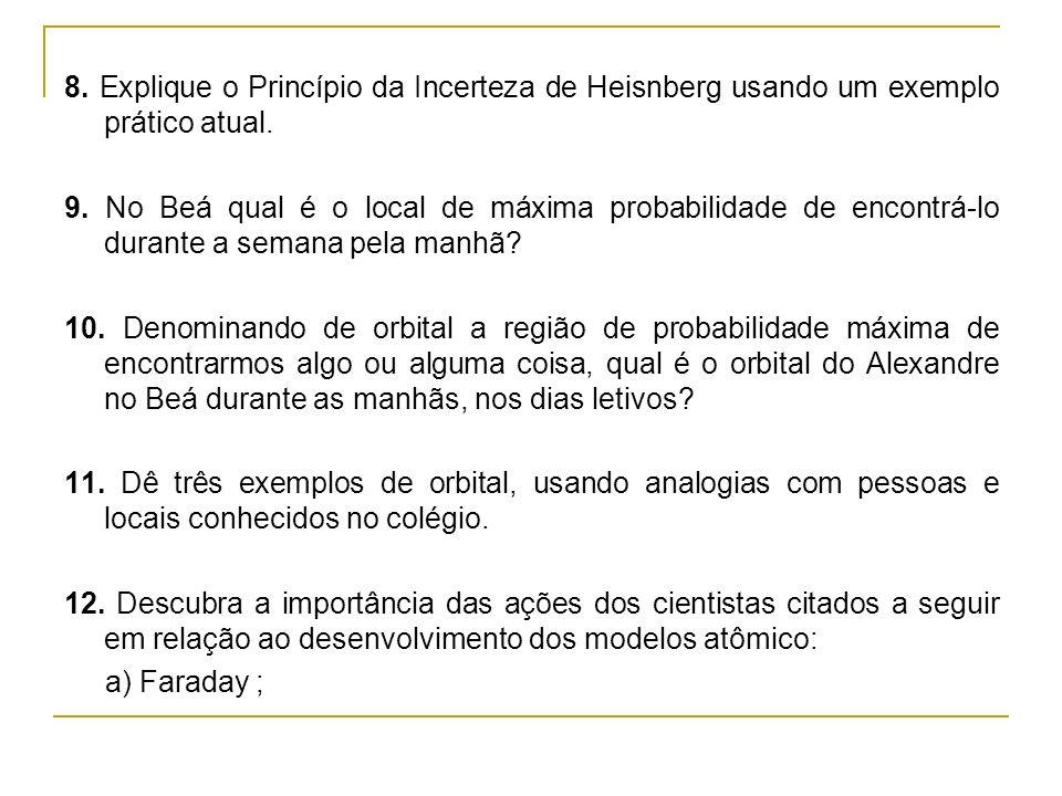 8. Explique o Princípio da Incerteza de Heisnberg usando um exemplo prático atual.