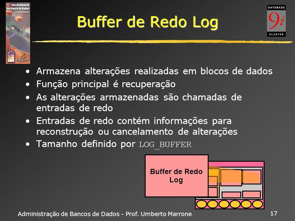 Buffer de Redo Log Armazena alterações realizadas em blocos de dados