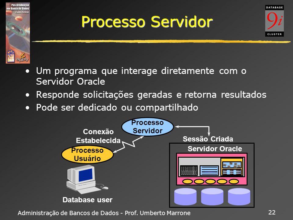 Processo Servidor Um programa que interage diretamente com o Servidor Oracle. Responde solicitações geradas e retorna resultados.