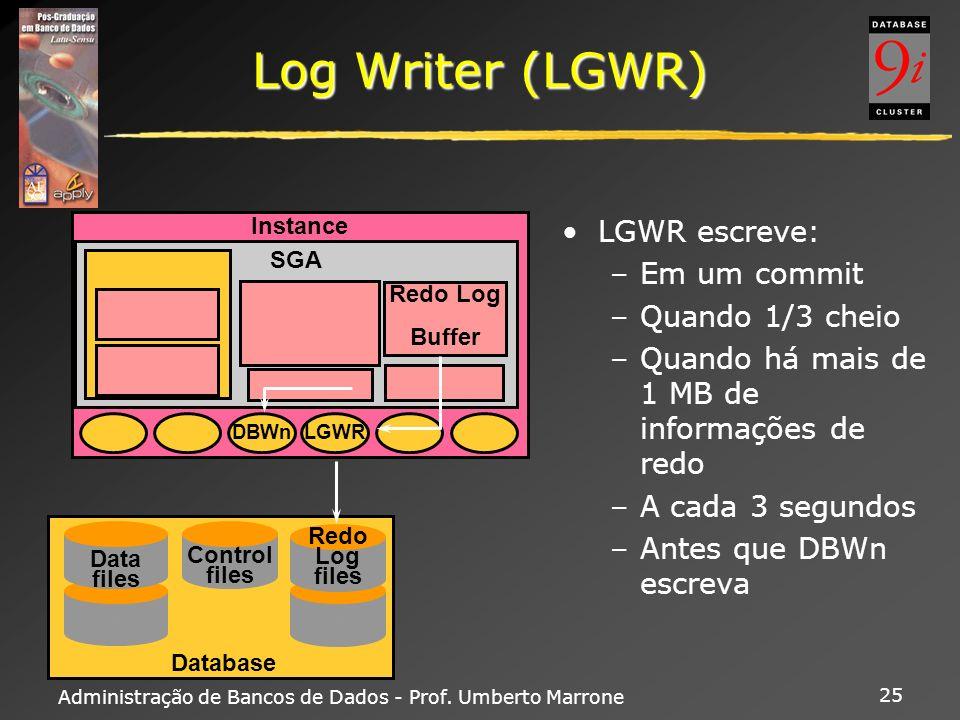 Log Writer (LGWR) LGWR escreve: Em um commit Quando 1/3 cheio