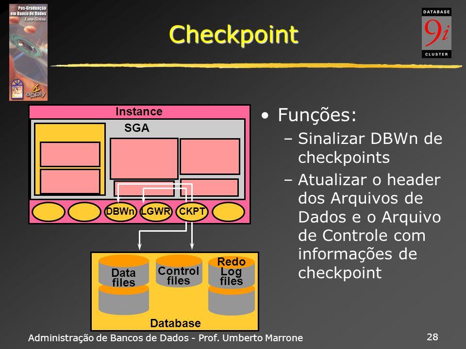 Checkpoint Funções: Sinalizar DBWn de checkpoints